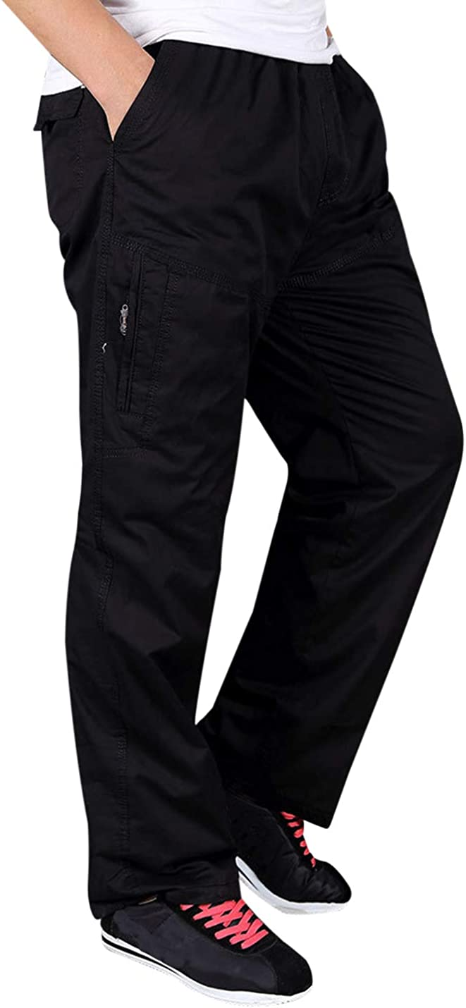 Tanming Mens Casual Fleece Lined Pull-On Cotton Cargo Pants