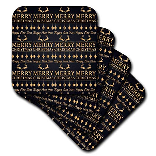 3dRose Anne Marie Baugh - Christmas - Pretty Image Of Gold Merry Christmas and Reindeer Pattern - set of 4 Ceramic Tile Coasters (cst_318474_3)