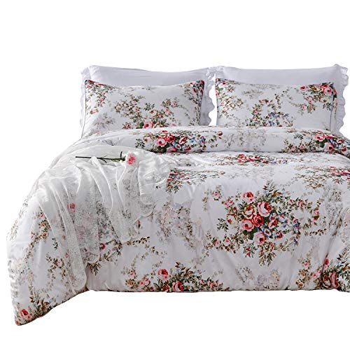 SexyTown King Size Lightweight Comforter,King Summer Comforter,Floral Printed Comforter Set with 2 Pillow Shams Vintage Rose Flower Comforter,Soft Microfiber Fill Bedding -Breathable and Comfortable