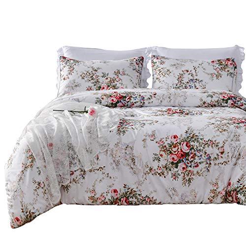 SexyTown King Size Lightweight Comforter,King Summer Comforter,Floral Printed Comforter Set with 2 Pillow Shams Vintage Rose Flower Comforter,Soft Microfiber Fill Bedding -Breathable and -