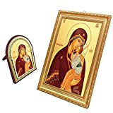 FengMicon Painting Art of Greek Orthodox Church Catholic Religious Icon Picture Mother Mary Baby Christ with Frame 2pcs/set for Home Decor Church Suppliers (Theotokos of Yaroslavl+Gold Trim)