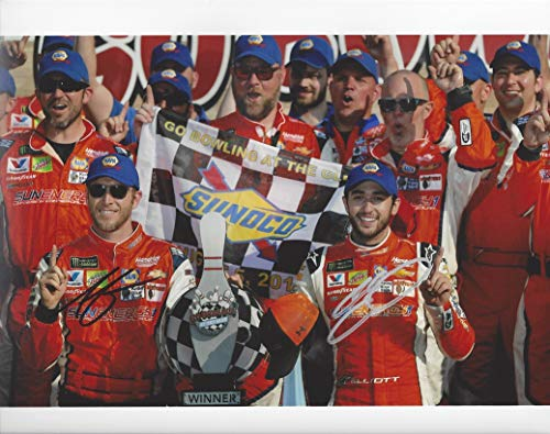 (2X AUTOGRAPHED 2018 Chase Elliott & Alan Gustafson (Crew Chief) #9 Sun Energy WATKINS GLEN 1ST RACE WIN (Victory Lane) Hendrick Signed Collectible Picture 8X10 Inch NASCAR Glossy Photo with COA)