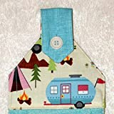 Hanging Hand Towel - Plush Turquoise Towel - Scenic Camping & Vintage Trailers - RV Camping Decor
