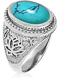 Sterling Silver Lotus Oval Turquoise Cabochon Yoga Ring
