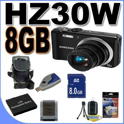 (Samsung HZ30W 12MP Digital Point And Shoot Camera BigVALUEInc Accessory Saver 8GB SLB-11A Bundle)