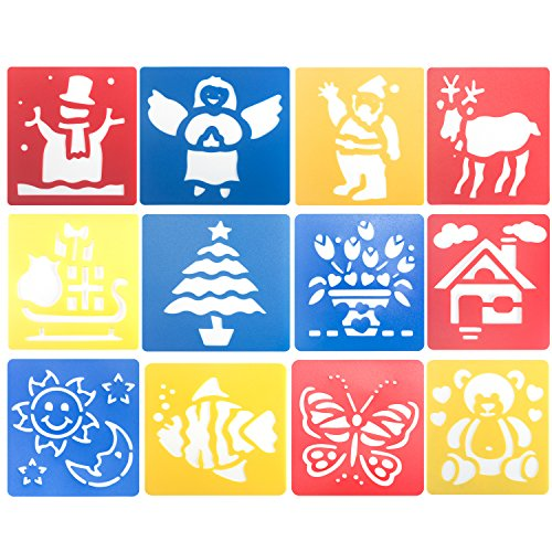 Deoot 12 Pcs Plastic Painting Template Drawing Stencil - Stencils For Kids Art And Craft