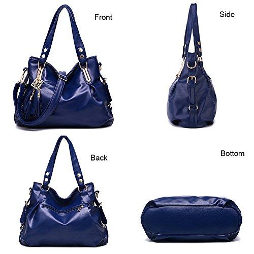 Bag black Bag Crossbody Large Women's Genuine PU Message Tote Handbag Bag Bag Hobo Leather black Satchel Shoulder Paxq7nxv