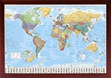 Amazon framed world map poster 24x36 poster in real wood walnut framed world map poster 24x36 poster in real wood walnut brown finish with push pins crafted gumiabroncs Choice Image