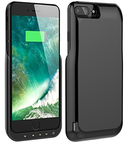iPhone 7 Plus Battery Case, Foxin 8000 mAh Extended Battery Charger Case Rechargeable Power Bank Battery Charging Case for iPhone 7 Plus/6 Plus/6S Plus(5.5 inch) (Bright Black)