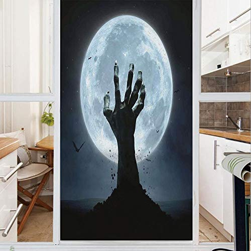 Decorative Window Film,No Glue Frosted Privacy Film,Stained Glass Door Film,Zombie Earth Soil Full Moon Bat Horror Story October Twilight Themed,for Home & Office,23.6In. by 47.2In Blue Black