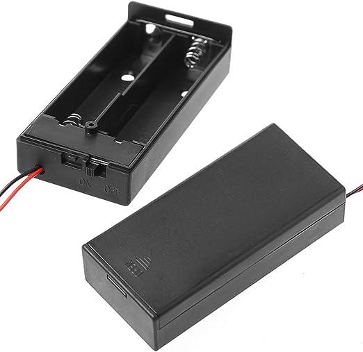 Gwxevce 3.7V 2X 18650 Caja de Soporte de batería Caja de Almacenamiento contenedor con Cable Interruptor ON/Off Soporte de Caja de batería Negro: Amazon.es: Hogar
