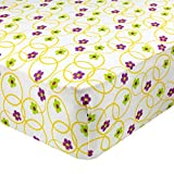 Abstract Fitted Crib Sheet for Standard and Full Size Cribs and Toddler Beds - 28''x 52'' - Ultra Soft, 100% Jersey Knit Cotton - Hypoallergenic Nursery Bedding - Floral Multi Color