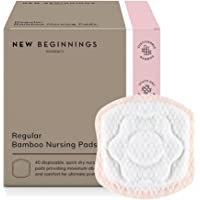 New Beginnings Extra-Soft & Highly-Absorbent Disposable Bamboo Nursing Pads, White, 40 Count