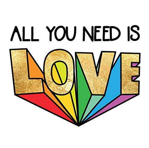 (ALL YOU NEED IS LOVE set of 25 premium waterproof temporary colorful rainbow metallic gold jewelry foil Flash Tattoos - party favors, love, rainbow )