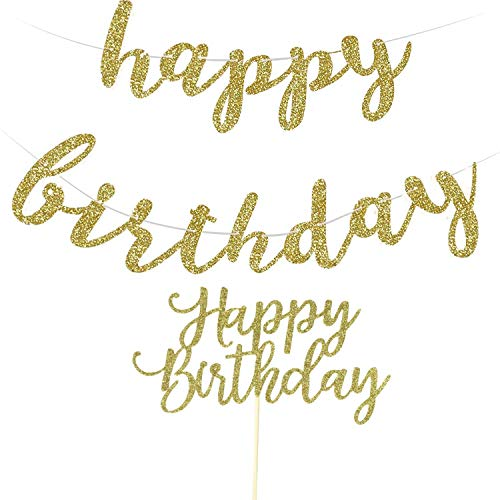 Birthday Banner - Happy Birthday Banner, Gold Birthday Decorations Party, Happy Birthday Cake Topper Glitter Gold