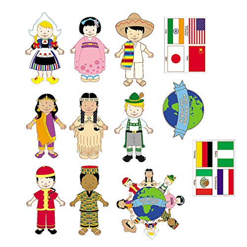Multicultural Kids From Around The World - set of 12 diverse cardboard ()