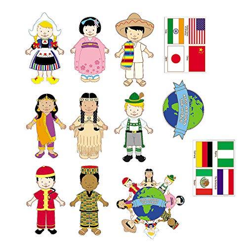 Fun Express - Kids Around The World Cardboard Cutouts - Party Decor - Wall Decor - Cutouts - 12 Pieces