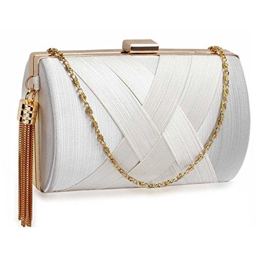 Xardi London clutch rigida da donna, compatta, in raso, misura media, adatta per spose, balli, serate. White Style 2