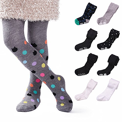3 Pack Cotton Thick Baby Girl Legging Pant Tights Toddler Girls Panties Stockings, Bottoms with Non-Skid Grips Age 1-5 Years (3 Pack Black, White, Ash-Mixed, 3-5 Years - Height 35.5-41 inch) (Mixed Girl Halloween Costumes)