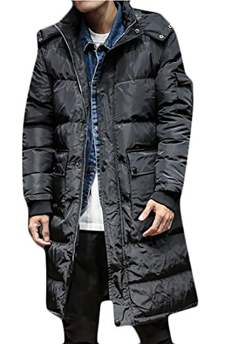 today-UK Men's Hooded Quilted Puffer Down Jacket Zippered Length Outerwear Parka Coat Black
