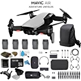 DJI Mavic Air Fly More Combo (Arctic White) CP.PT.00000165.01 + 2 DJI Intelligent Flight Battery for Mavic Air (5 Total) + Carrying Case and Much More.
