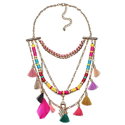 Diamondo Neon colorful rope chain handmade tassel chunky bead chain necklace