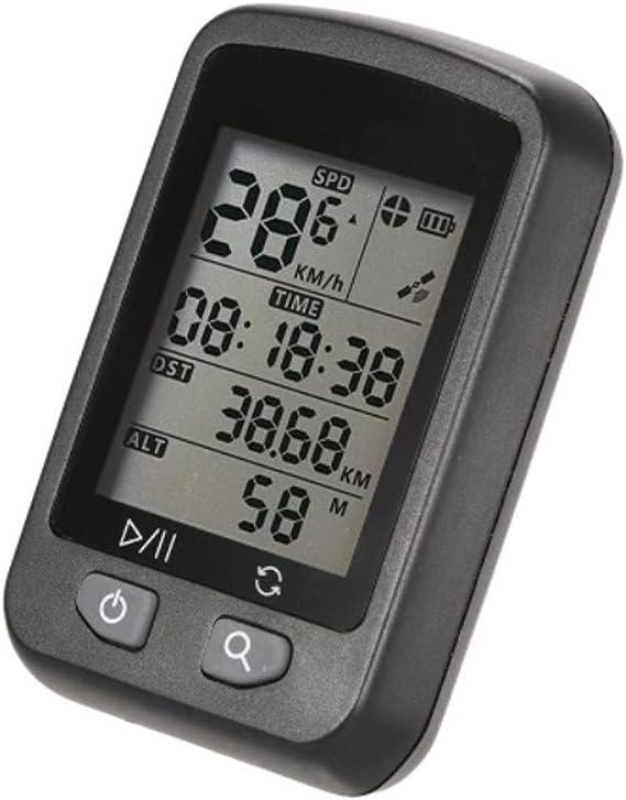 Cuentakilómetros para Bicicleta Recargable de Bicicletas GPS IPX6 Impermeable Ordenador cuentakilómetros automático de la Pantalla de luz de Fondo con el Monte (Color : Negro, tamaño : Un tamaño): Amazon.es: Hogar