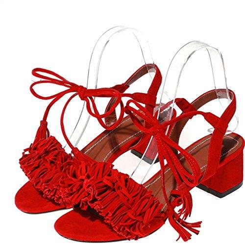 Enmayer Mode Féminine Spéciale Design Mi-talon Auto-cravates Sandales À Glands Rouge