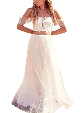 PROMLINK Lace Off Shoulder Wedding Dress Two Piece Ball Gown Long ...