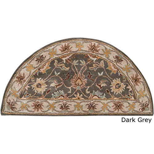 (Dark Grey Hearth Rug Fireplace Carpet, Beige Border Half Moon Circle Mat Flower Themed Semi Circle Chimney Mat, Traditional Floral Pattern Semicircle Rug Cabin Lodge Cottage Fire Place 2' x 4', Wool)