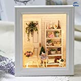 Kisoy Romantic and Cute Dollhouse Miniature DIY House Kit Creative Room Perfect DIY Gift for Friends,Lovers and Families(Sunny Dorm)