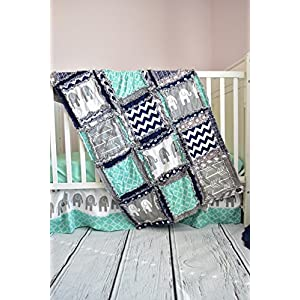 Image of Elephant Crib Set - Mint / Gray / Navy - Safari Baby Bedding with Quilt, Skirt, Sheet Home and Kitchen
