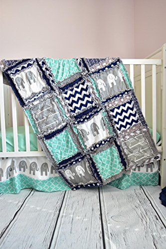 Elephant Crib Set - Mint / Gray / Navy - Safari Baby Bedding with Quilt, Skirt, Sheet by A Vision to Remember