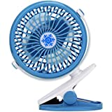 Fabal Battery Operated Clip Fan Mini Desk Fan Portable Hand Held Powered by Rechargeable Battery or USB (Blue)