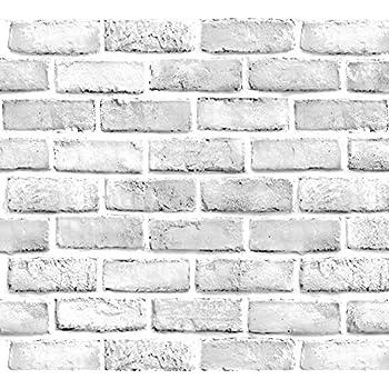 Yancorp White Gray Brick Wallpaper Grey Self-Adhesive Contact Paper Home Decoration Peel and Stick Backsplash Wall Panel Door Stickers Christmas Decor (18