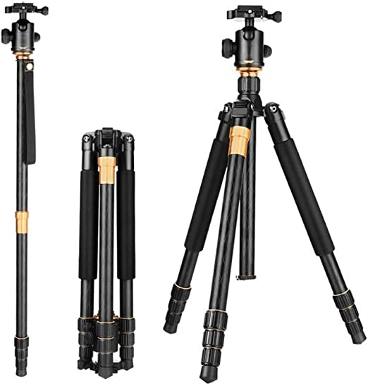 150cm Color : Gold, Size : One Size Engineering Measuring Tripod Photography Tripod Durable 62 Inch Tripod Detachable Monopod with Ball Head for DSLR Camera