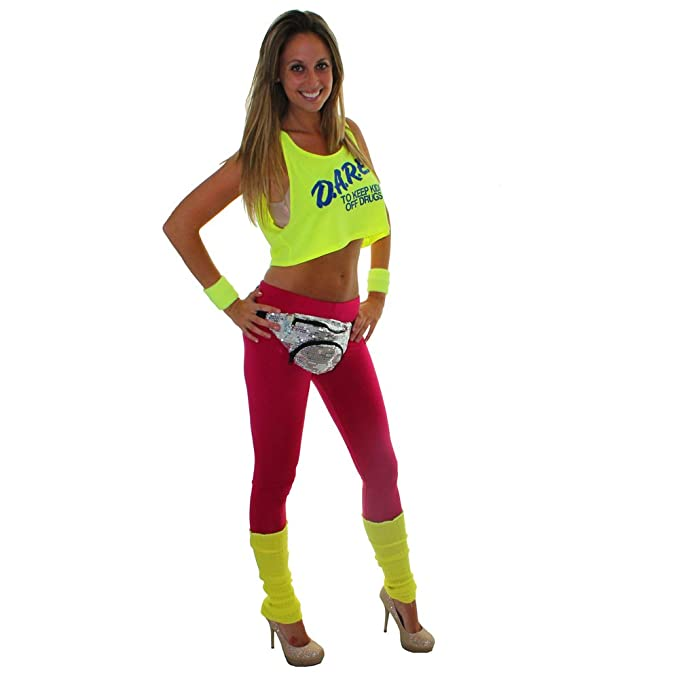 Extreme 80u0027s Neon Pink Leggings Large Womenu0027s at Amazon Womenu0027s Clothing  store: Leggings Pants
