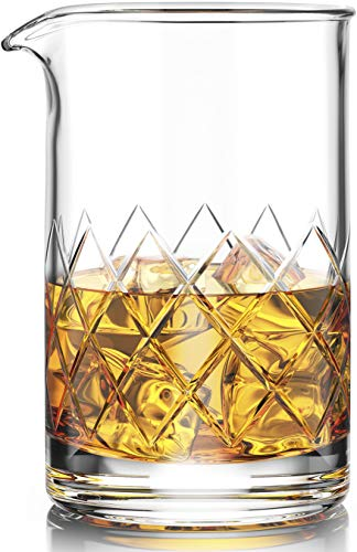 Premium Cocktail Mixing Glass - Seamless Lead-Free Crystal - Thick Weighted Bottom - 18oz 550ml - Choice for Amateurs & Pros - Ideal Gift ()