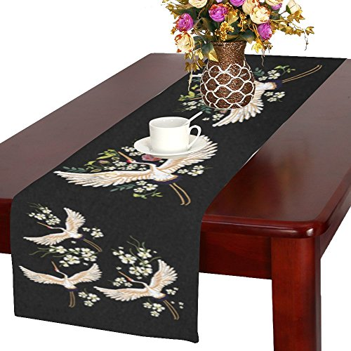 Traditional Japanese Table (InterestPrint Japanese White Crane Birds Polyester Table Runner Placemat 16 x 72 inch, Traditional Floral Flowers Tablecloth for Office Kitchen Dining Wedding Party Home Decor)