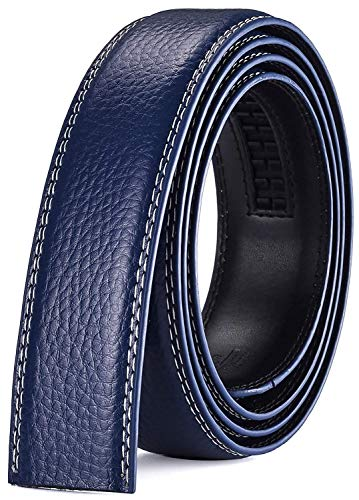 Xhtang Men's Genuine Leather Belt without Buckle Ratchet Belt 35mm 1 3/8