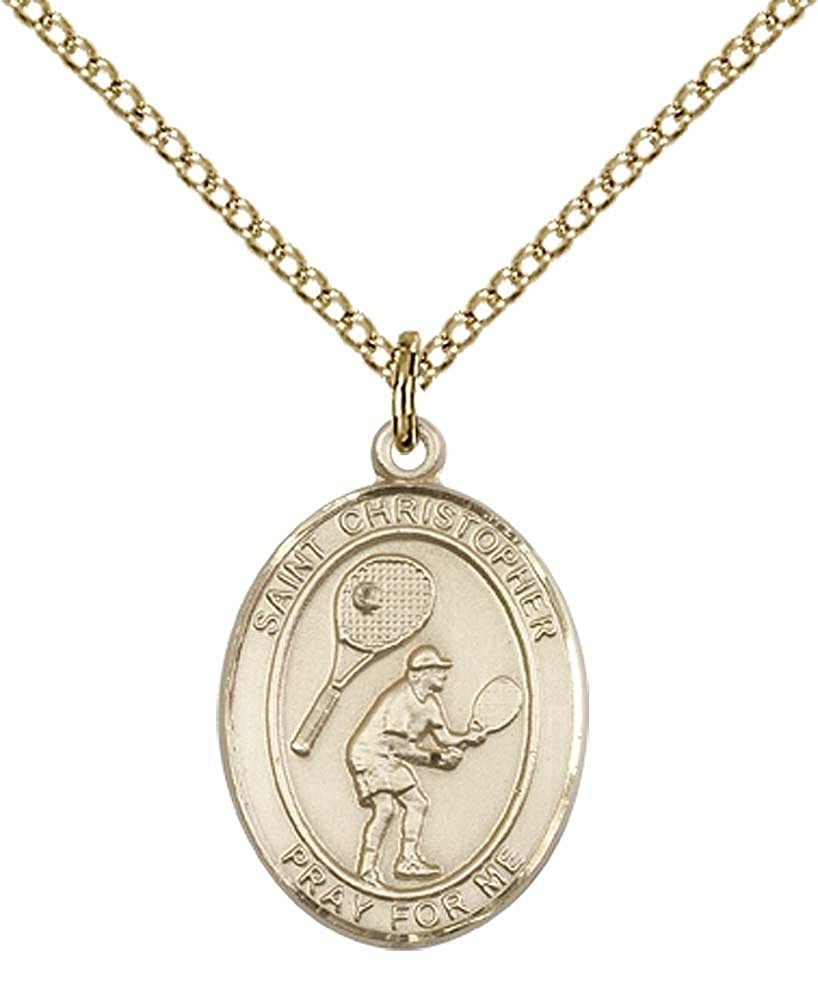F A Dumont 14kt Gold Filled St Patron Saint of Travelers//Motorists Christopher//Tennis Pendant with 18 Gold Filled Lite Curb Chain