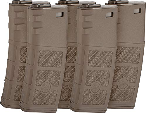 Evike G&P High RPS Polymer Magazine for M4 M16 Airsoft AEG Rifles (Type: 360rd Hi-Cap/Dark Earth / 5 Pack)