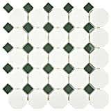 SomerTile FXLMOWGN Retro Octagon Porcelain Floor and Wall Tile, 11.5'' x 11.5'', Matte White with Glossy Green Dot
