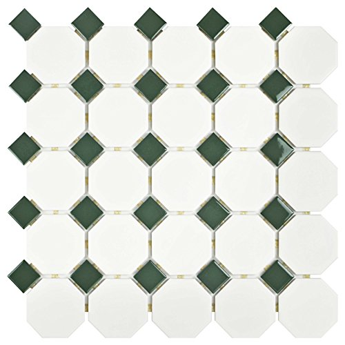 - SomerTile FXLMOWGN Retro Octagon Porcelain Floor and Wall Tile, 11.5