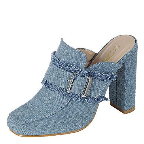 Evigt Länkar Womens Stängda Fyrkantig Tå Slitna Jeans Mulor Pump Chunky Hög Klack Sandal Glidskor Ljusblå Denim