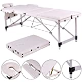 Portable Massage Table Folding Aluminum Frame Facial SPA Bed Tattoo with Free Carry Case (White)