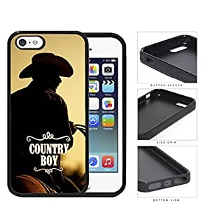 Country Boy Cowboy Riding Horse iPhone 5 5s Rubber Silicone TPU Cell Phone Case by icecream design