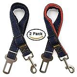 ANGESY Dog Seat Belt, Pet Cat Car Safety Seat Belt [2 Pack] 19-27 Inch Adjustable (Black/Red)