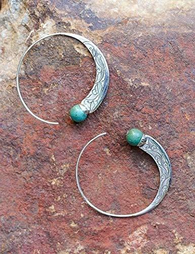 Lxbin Retro 925 Sterling Silver Natural Gemstone Turquoise Earrings Stud Hoop Dangle Earrings Engagement Wedding Bridal Jewelry ()