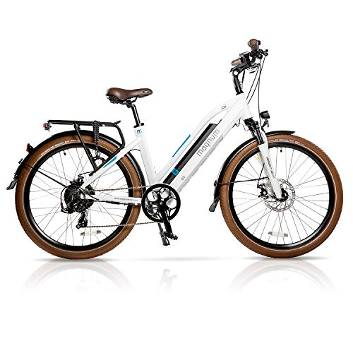 (Magnum Ui5 Electric Hybrid City Bike - 350W Motor, Large Capacity 36V13A - Lithium Battery - Rear Rack (White))